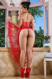 Cindy Starfal slips out of red see-through